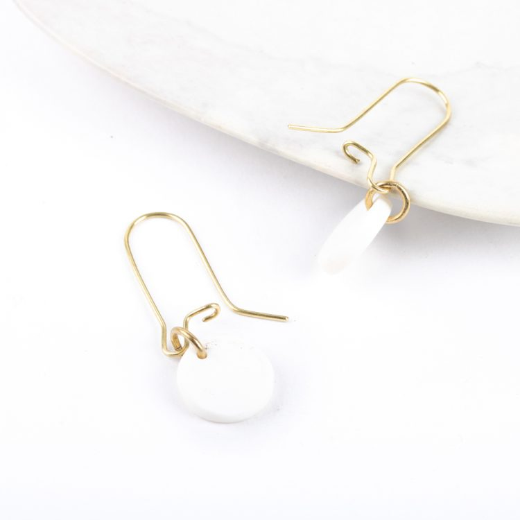 White disc earrings   Gallery 2   TradeAid