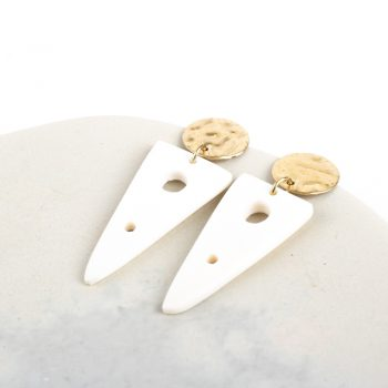 White triangle earrings | Gallery 2 | TradeAid