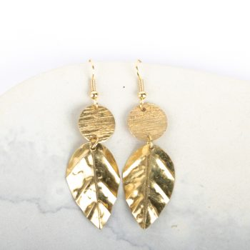 Brass leaf earrings | TradeAid