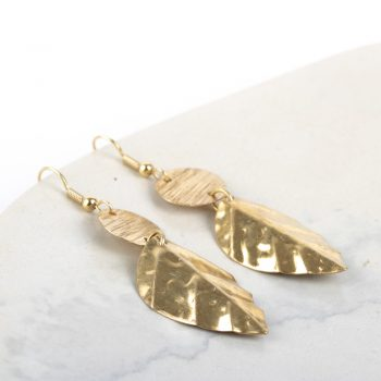 Brass leaf earrings | Gallery 1 | TradeAid