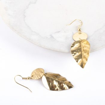 Brass leaf earrings | Gallery 2 | TradeAid