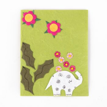 Elephant showering flowers card | TradeAid