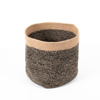 Black and natural striped jute basket | TradeAid