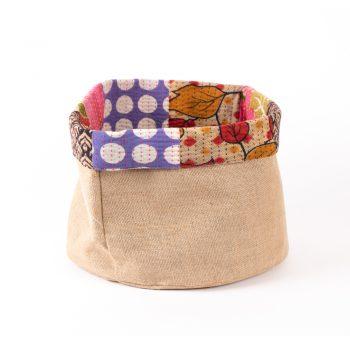 Large reversible sari trim basket   TradeAid