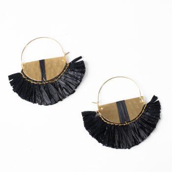 Black raffia earrings | TradeAid