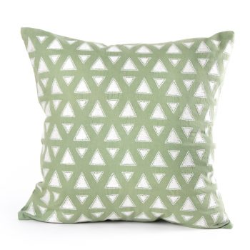 White triangles cushion cover | TradeAid