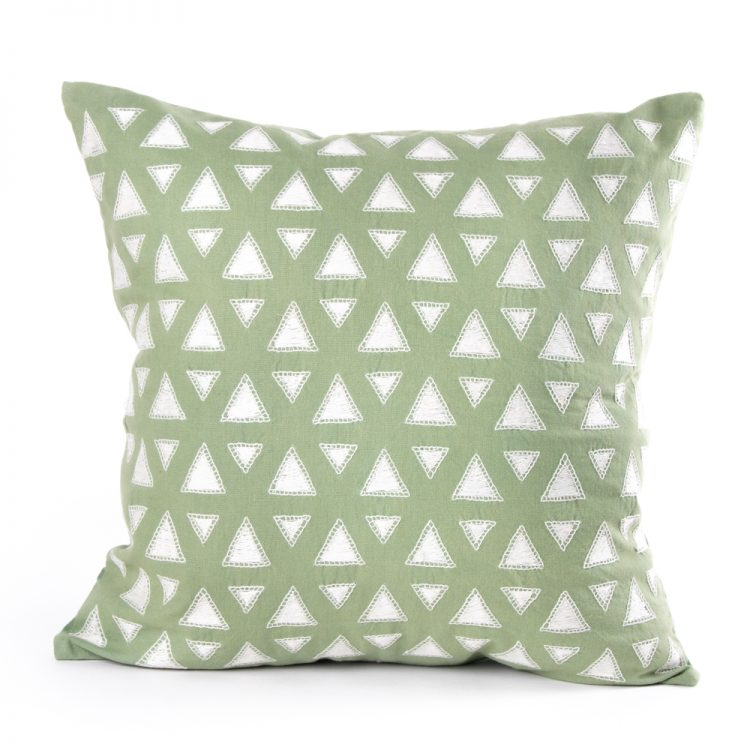 White triangles cushion cover   TradeAid