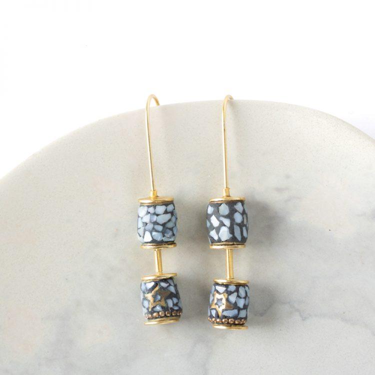 Long hook mosaic earrings | TradeAid