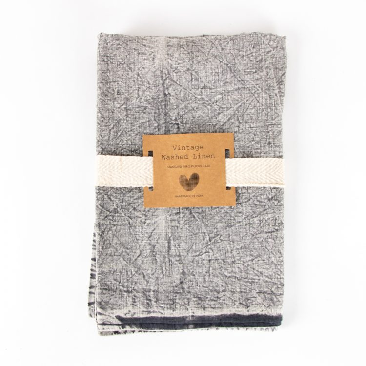 Washed grey linen euro pillow case | Gallery 1 | TradeAid