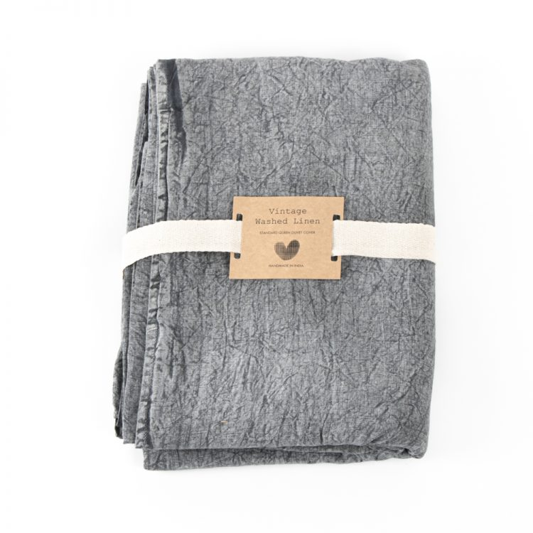 Queen washed grey linen duvet cover | TradeAid