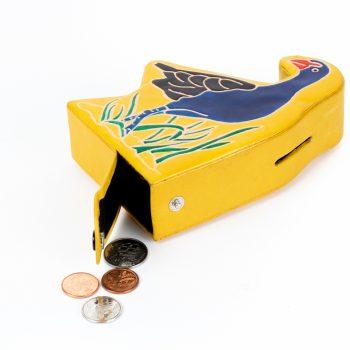 Pūkeko leather money box   Gallery 1   TradeAid