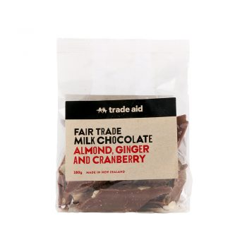 Almond, ginger and cranberry milk chocolate – 180g | TradeAid