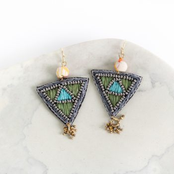 Embroidered triangle earrings | Gallery 2 | TradeAid