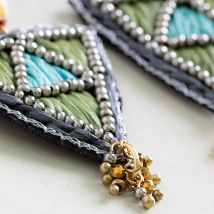 Embroidered triangle earrings | Gallery 1 | TradeAid