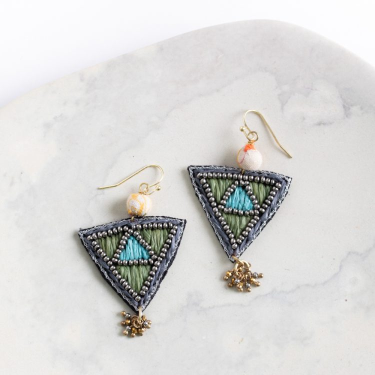 Embroidered triangle earrings | TradeAid