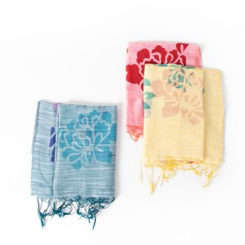 Silk and linen floral scarf | TradeAid