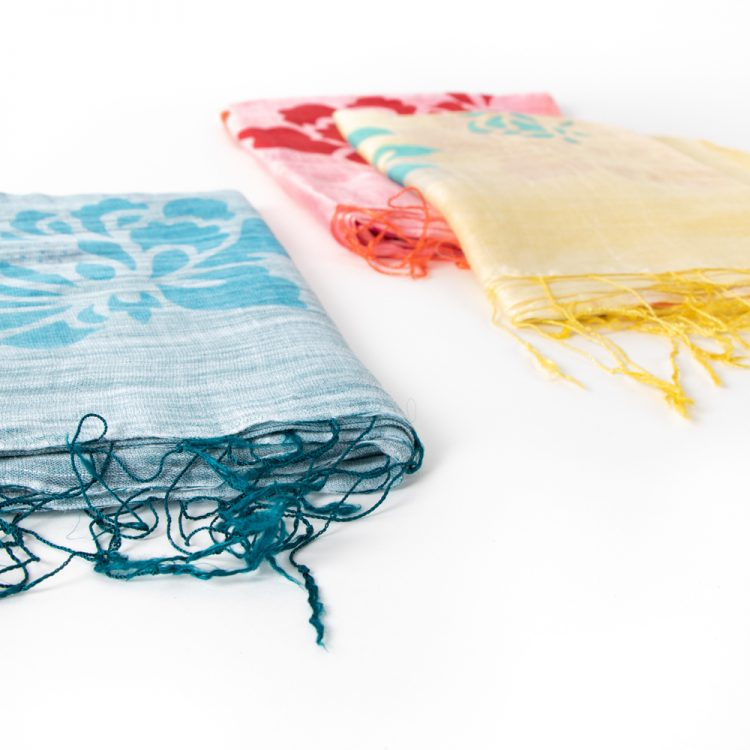 Silk and linen floral scarf | Gallery 2 | TradeAid