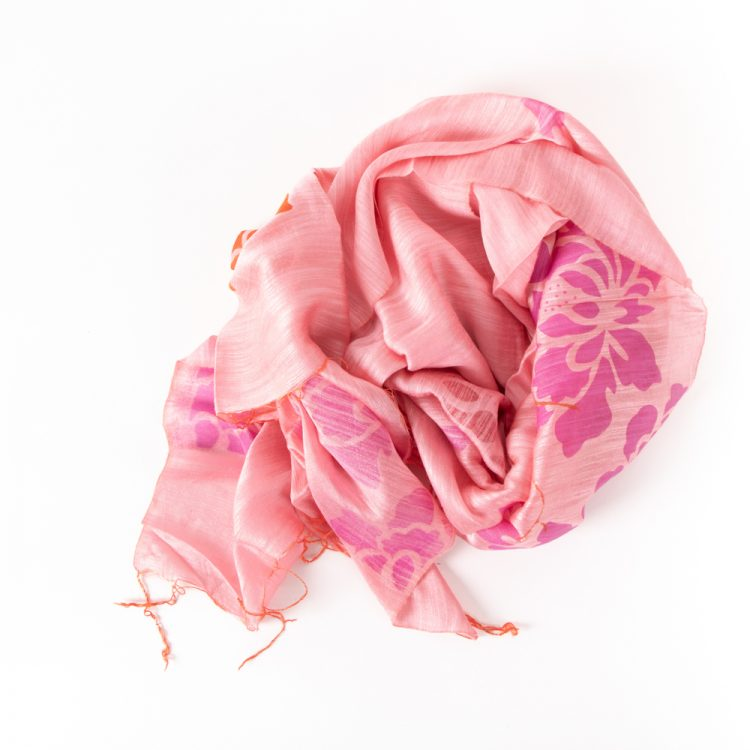Silk and linen floral scarf | Gallery 1 | TradeAid