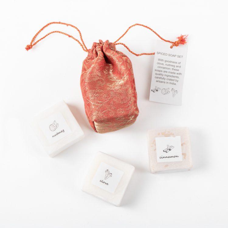 Spice soaps in brocade bag   Gallery 1   TradeAid