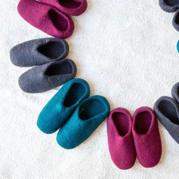 Charcoal felt slipper   Gallery 1   TradeAid
