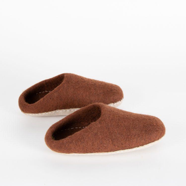 Chocolate felt slipper (38)   TradeAid