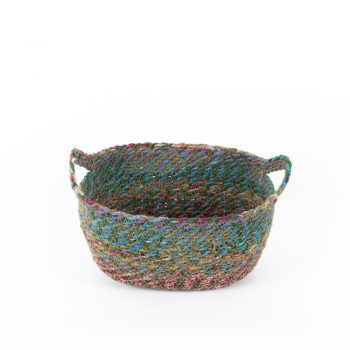 Recycled sari oval basket small | TradeAid