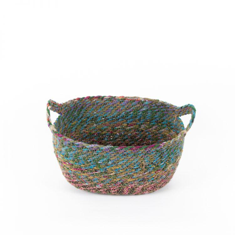 Recycled sari oval basket small | TradeAid