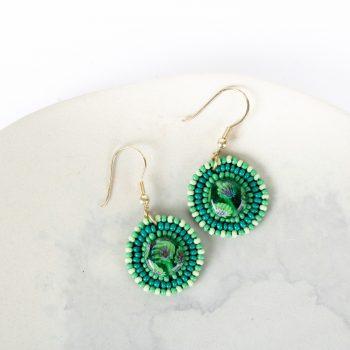 Green glass bead earrings | TradeAid
