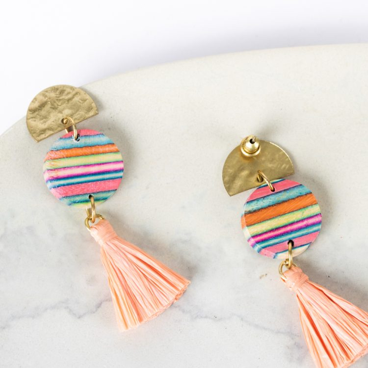 Pink papdi wood earrings   Gallery 1   TradeAid
