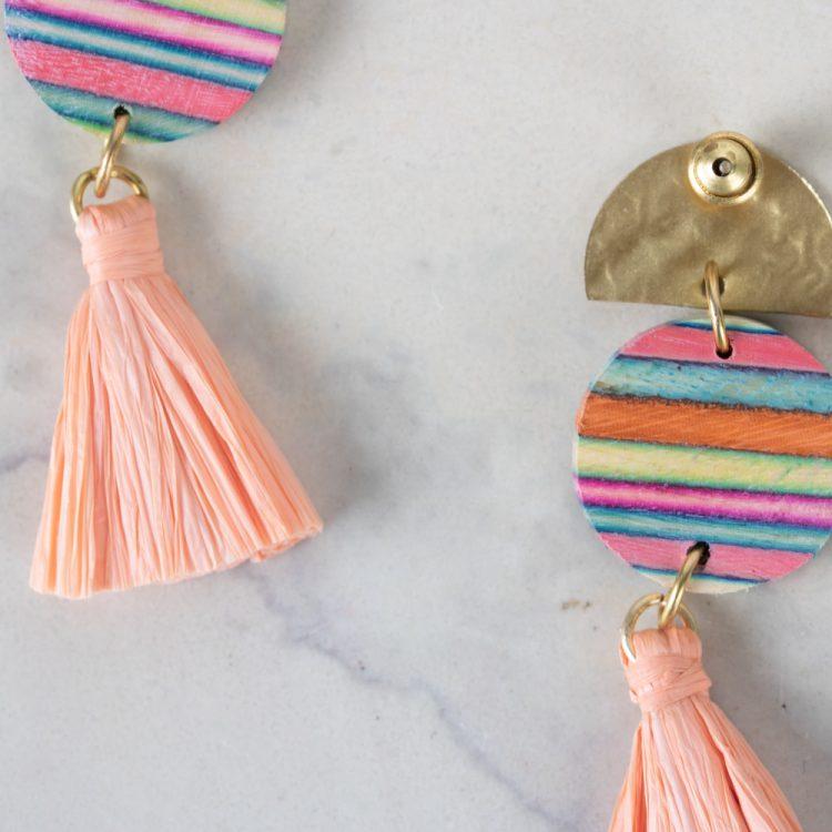 Pink papdi wood earrings   Gallery 2   TradeAid