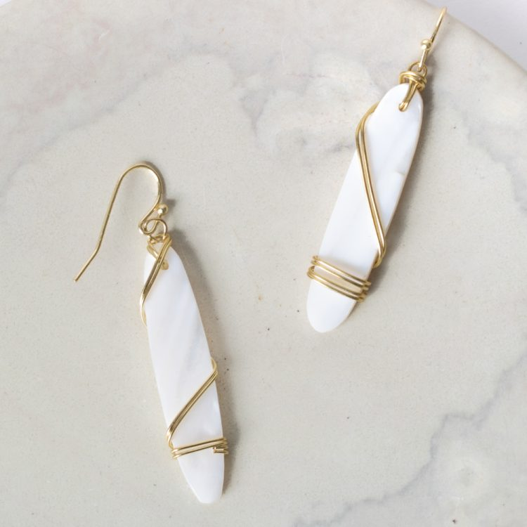 White bead and wire earrings | Gallery 1 | TradeAid