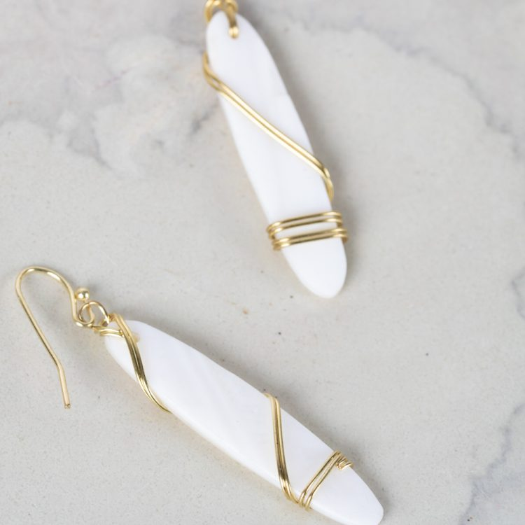 White bead and wire earrings | Gallery 2 | TradeAid