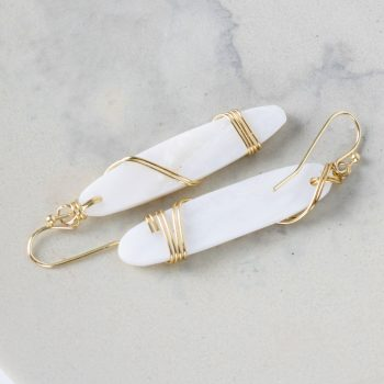 White bead and wire earrings | TradeAid