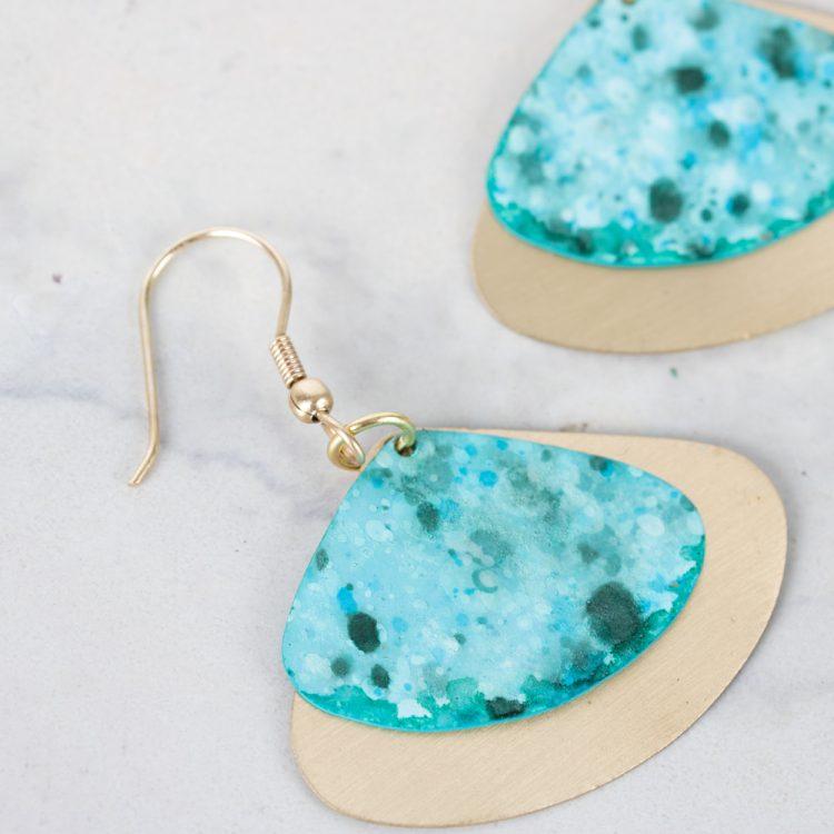Aqua triangle earrings   Gallery 2   TradeAid