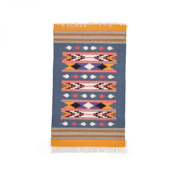 Ochre and ink cotton rug   TradeAid