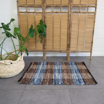 Plaid leather and cotton rug | TradeAid