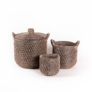Black kaisa and jute baskets (set of 3) | TradeAid