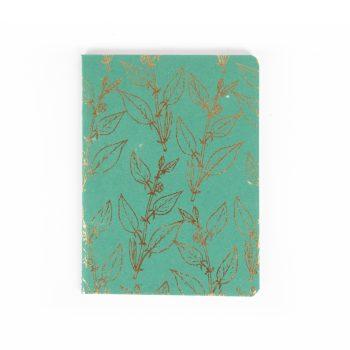 Green & gold leaf notebok   TradeAid